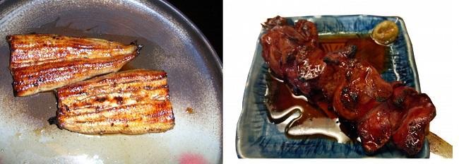 鰻の蒲焼、レバータレ