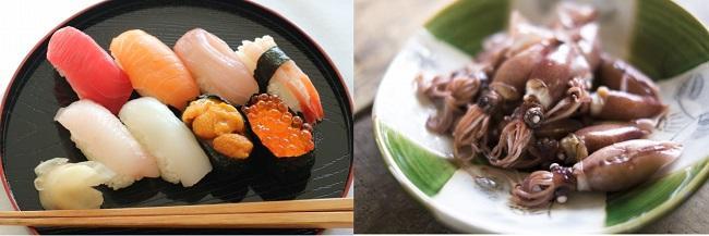 お寿司とホタルイカの酢味噌あえ