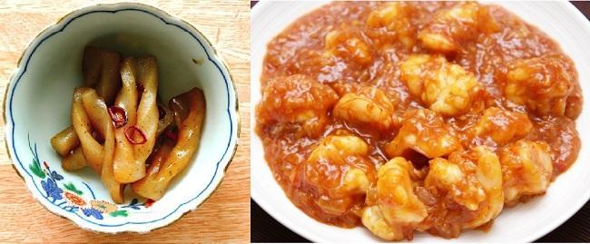 こんにゃくのピリカラ煮とエビチリ