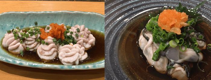 白子ポン酢と牡蠣のポン酢画像