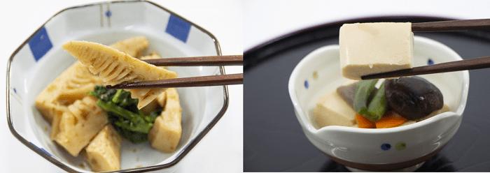 タケノコの土佐煮と高野豆腐煮物の画像